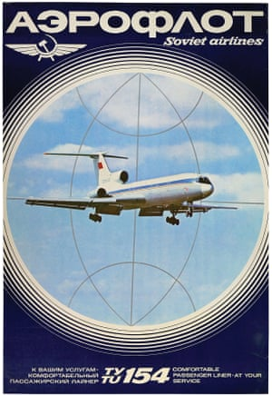 A promotional poster from the 1970s featuring a Tu-154 plane