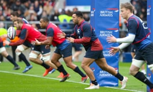 Ellis Genge (second right) takes a pass during a Twickenham training session