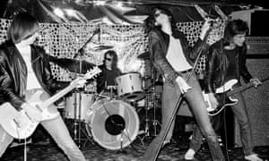 The Ramones playing the Phase V club in New Jersey in April 1976, one of their first ventures outside New York City.