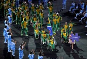 South African athletes join the parade.