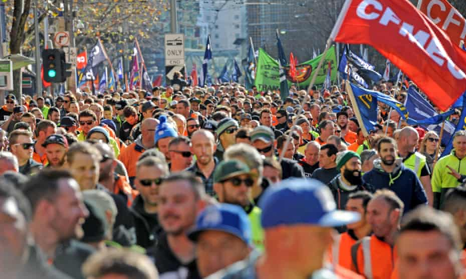Building and construction workers march during a rally in Melbourne in 2017.