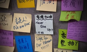 Protest messages Legislative Council building in Hong Kong