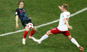 Luka Modric, left, and Christian Eriksen both missed penalties on Sunday, although the Dane did so decisively in the penalty shootout.
