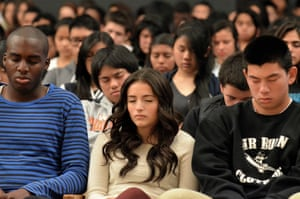 Students meditating in class