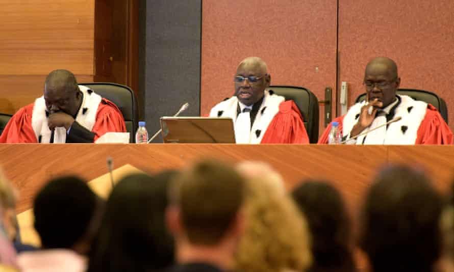 Malian judge Ougadeye Wafi, centre, upholds Hissène Habré's life sentence.