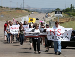 Demonstrators took to the streets in 2013 when mass surveillance programs were revealed by National Security Agency (NSA) whistleblower Edward Snowden. Restore the Fourth, a non-profit dedicated to strengthening the fourth amendment, organized local rallies in all 50 US states on Independence Day.Pictured: protesters march to the new NSA Utah Data Center being built in Bluffdale, Utah on 4 July 2013.