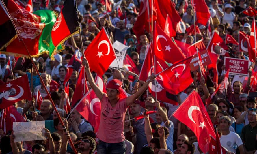 A demonstration against the attempted coup in Istanbul.