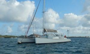 The catamaran belonging to Lewis Bennett.
