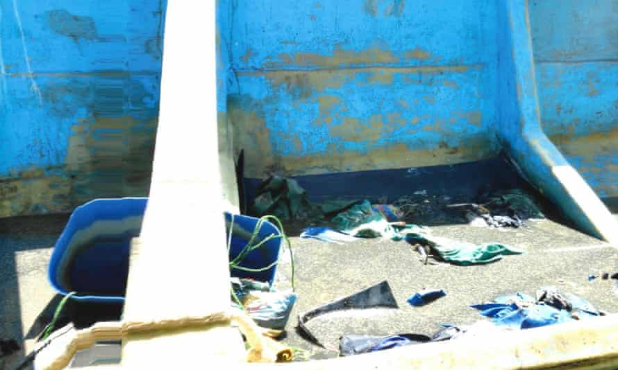 The interior of the migrant boat that was found floating off Tobago.