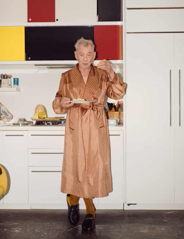 At home: Sir Ian McKellen wears silk robe by SS Daley (matchesfashion.com), socks by londonsockcompany.com and mules by russellandbromley.co.uk.