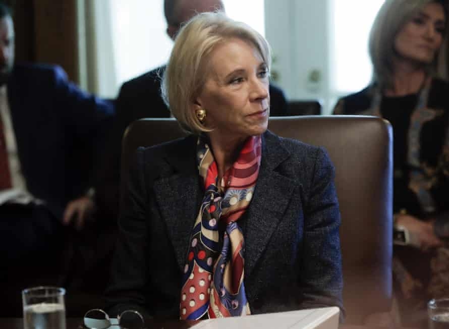 """""""US secretary of education Betsy Devos continues to refuse debt forgiveness for thousands of students ripped off by predatory for-profit colleges."""""""