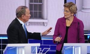 Bloomberg and Warren during the debate