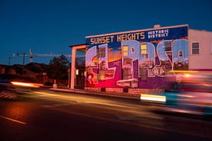 Alex Lomeli's mural depicting scenes from Sunset Heights Historic District