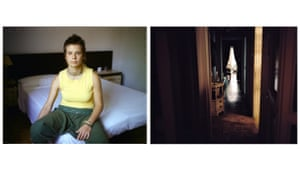 Woman wearing yellow top sits on double bed