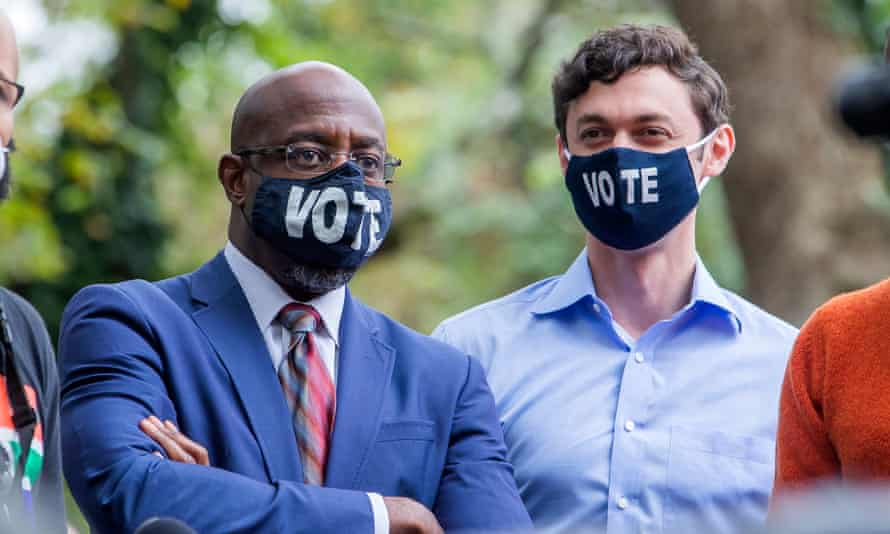 The Rev Raphael Warnock, left, and Jon Ossoff are the Democratic candidates in Georgia's runoff Senate elections scheduled for 5 January.