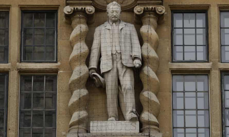The statue of Cecil Rhodes at Oriel College.