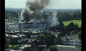 Smoke rises from mosque