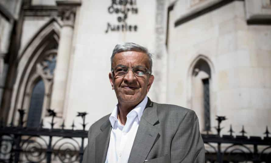Vijay Parekh, 62, outside the Royal Courts of Justice, London.