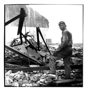 Workman on wrecking project at The Point Pittsburgh 1950