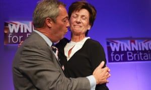 Diane James being congratulated on becoming Ukip leader by Nigel Farage on 16 September.