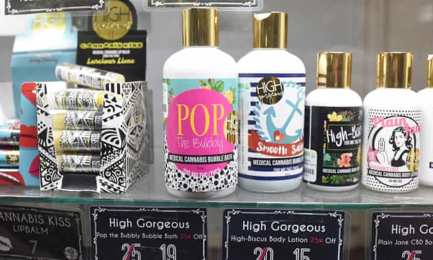 Marijuana bubble bath and body lotion for sale at a marijuana dispensary in Los Angeles, California.