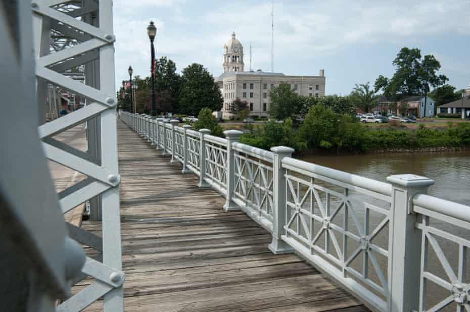 The landmark bridge crossing the Yazoo River into downtown Greenwood, Mississippi.