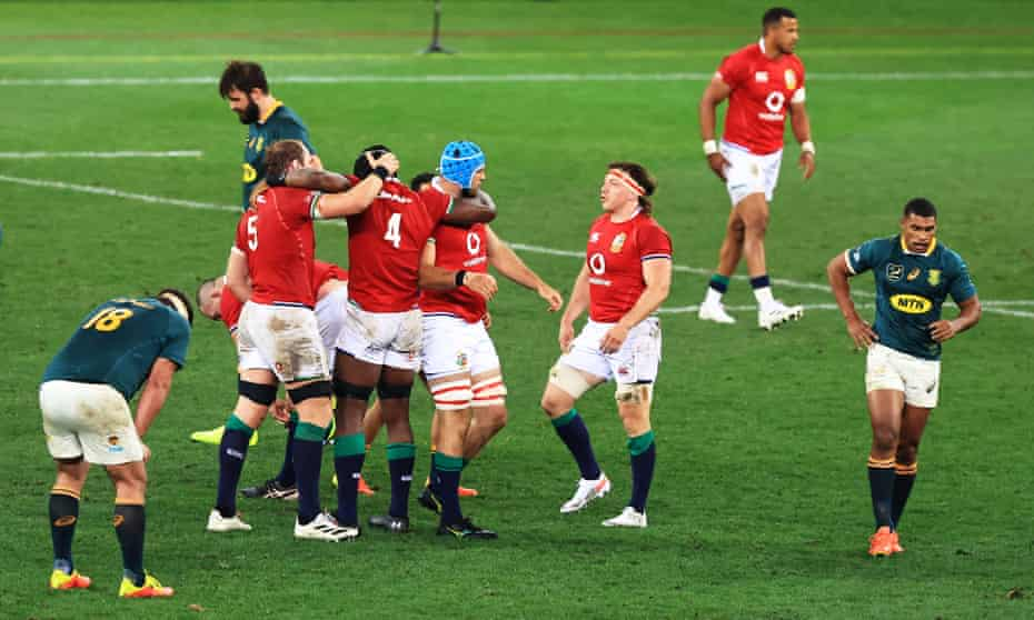 British & Irish Lions players celebrate their hard-fought victory in Cape Town.