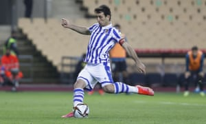 Real Sociedad's Mikel Oyarzabal scores the only goal of the Copa del Rey final from the penalty spot