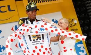 Daniel Teklehaimanot of Eritrea put on the polka dot jersey during the 2015 Tour de France.
