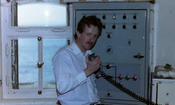 Neil Hargreaves in 1987 on the Longships lighthouse