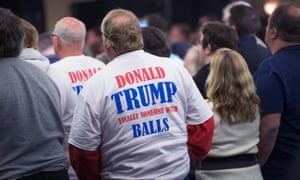 Supporters listen as Donald Trump speaks at a campaign rally in Wisconsin. Wisconsin voters go to the polls for the state's primary on April 5.
