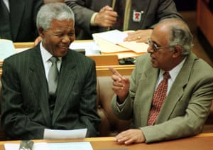 Nelson Mandela and Ahmed Kathrada before an address to parliament in Cape Town, March 1999