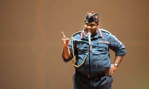 Tobi Bamtefa as Idi Amin in The Last King of Scotland at the Crucible theatre, Sheffield.
