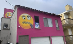 Painted emoji on a house in Manhattan Beach, California, 7 August 2019.