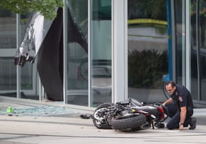 A police officer at the scene of the fatal accident on the set of Deadpool 2.