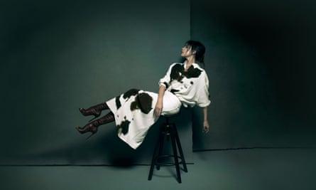Victoria Beckham, sitting on stool, in London studio, December 2018