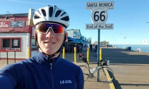 Charlie Condell in Santa Monica. Condell woke up in Townsville, Australia, on day 103 to discover his bike – which he had named Colin – passport and other equipment had been stolen.