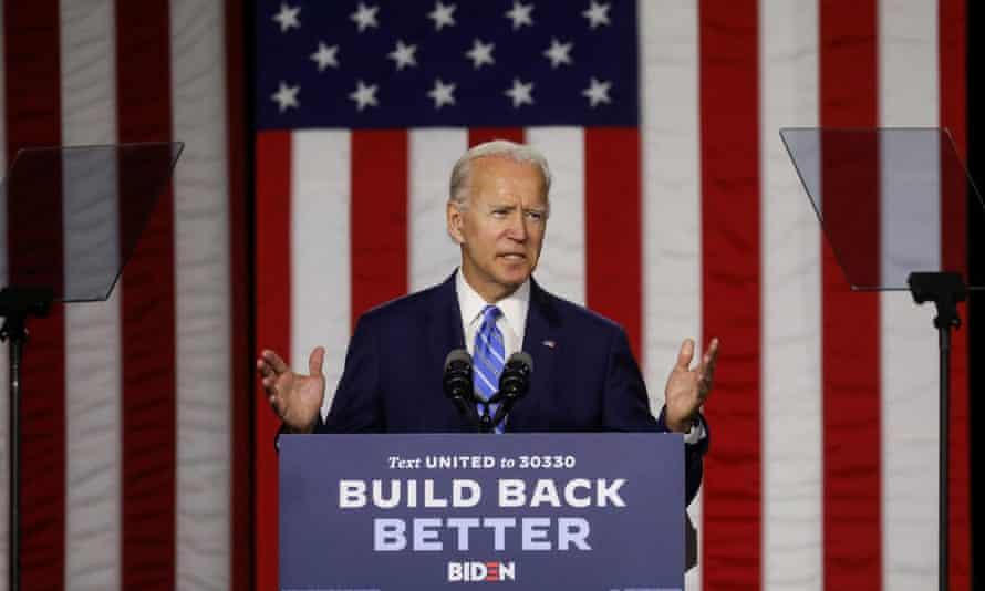 Joe Biden campaigns in Wilmington, Delaware, on 14 July.