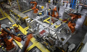 Automated production at the Jaguar Land Rover factory in Solihull, England.