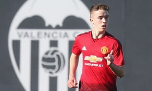 Harvey Neville in action for Manchester United's Under-19s at Valencia last December.