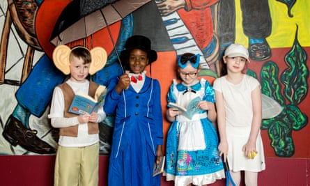 'An antidote to the curriculum demands' … children in Glasgow participating in the Biggest Book Show on Earth, organised by World Book Day UK in 2017.