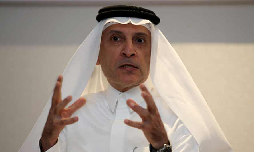 Qatar Airways' CEO Akbar Al Baker talking to journalists about his airline's plans, during the January 2016 Bahrain air show