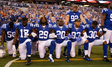 Indianapolis Colts players kneeling for the national anthem on Sunday.