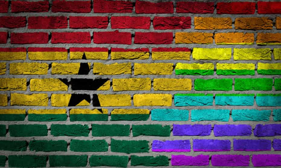 Bricks painted on a wall to depict the national flag of Ghana and the rainbow or freedom flag, used globally to symbolise LGBT rights.