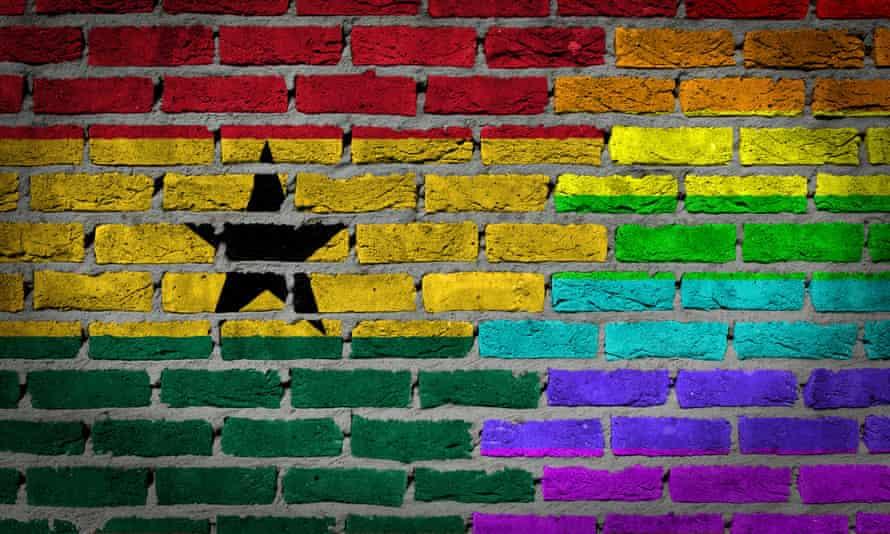 Ghana flag and rainbow flag painted on wall