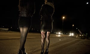 Prostituted women working at night.
