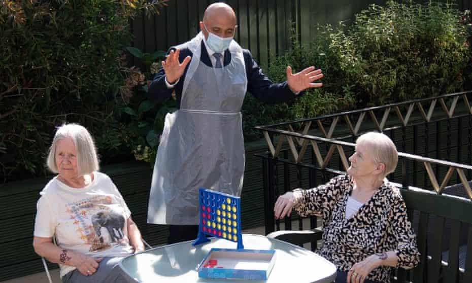 Health secretary Sajid Javid wearing PPE meets two female residents of Westport care home in Stepney, east London, last week.