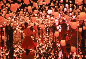 Tokyo, JapanVisitors enjoy visionary digital art installation by Japan's digital art collective company 'teamLab'. The digital art museum celebrated the museum's 1 millionth guest, only 150 days after the museum opened at Tokyo's waterfront in June