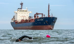 Ross Edgley swims the final miles off the coast of Margate
