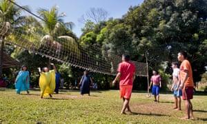 Asháninka children playing in the Amazon rainforest in Peru.